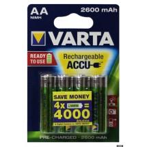 Аккумуляторные батарейки АА Varta 2600 mAh Ni-Mh 4 шт