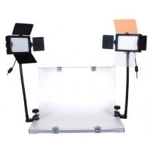 Стол для фотосъёмки GRIFON DVK-296V-K1 с 2-мя LED-осветителями (96 диодов) на гибких штангах